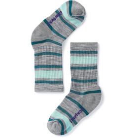 Smartwool Striped Hike Light - Chaussettes Enfant - gris/Bleu pétrole